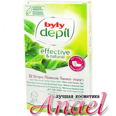 Byly Depil Восковые полоски для депиляции лица с экстрактами мяты и зеленого чая Hair Removal Strips Face (12 шт + 2 салфетки)