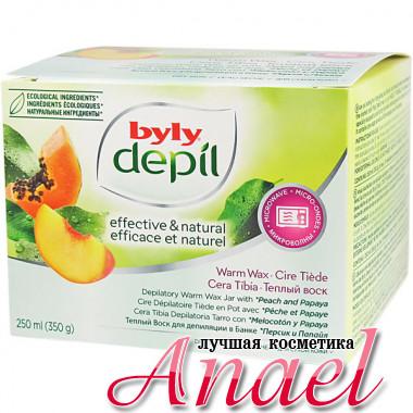 Byly Depil Баночный теплый воск для депиляции с экстрактами персика и папайи Depilatory Warm Wax Jar (250 мл + 12 полосок)