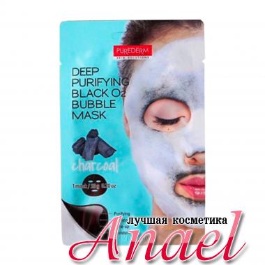 Purederm Глубоко очищающая кислородная маска для лица с древесным углем Deep Purifying Black O2 Bubble Mask (20 мл)