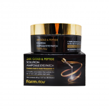 Farm Stay Антивозрастные патчи для глаз с золотом и пептидами 24K Gold & Peptide Solution Ampoule Eye Patch (60 шт)