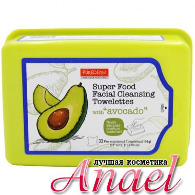Purederm Влажные очищающие питающие салфетки для лица «Авокадо» Super Food Facial Cleansing Towelettes  (33 шт)
