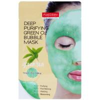 Purederm Кислородная маска с зеленым чаем для глубокого очищения кожи лица Deep Purifying Green O2 Bubble Mask Green Tea (1 шт х 25 мл)