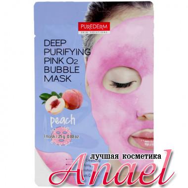 Purederm Кислородная маска с персиком для глубокого очищения кожи лица Deep Purifying Pink O2 Bubble Mask Peach (1 шт х 25 гр)