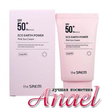 The Saem Розовый солнцезащитный крем с каламином SPF 50+ PA++++ Eco Earth Power Pink Sun Cream Long UVA (50 гр)