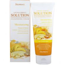 Deoproce Увлажняющая пенка для умывания с экстрактами овсянки и банана Natural Perfect Solution Cleansing Foam Moisturizing Oat Meal & Banana (170 гр)