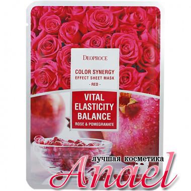 Deoproce Красная тканевая маска с экстрактами розы и граната Color Synergy Effect Sheet Mask Red Vital Elasticity Balance Rose & Pomegranate (1 шт)