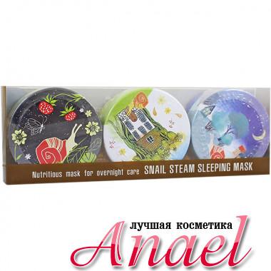 SeaNTree Ночная паровая крем-маска с улиточным муцином в наборе SeaNtree Art Snail Steam Sleeping Mask Set 3 in 1 (3 х 35 гр)