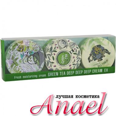 SeaNTree Ультраувлажняющий крем с экстрактом зеленого чая в наборе Green Tea Deep Deep Deep Cream EX Set 3 in 1  (3 х 35 гр)