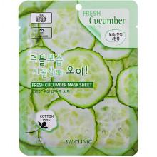 3W Clinic Тканевая маска с экстрактом огурца Fresh Cucumber Mask Sheet (1 шт)