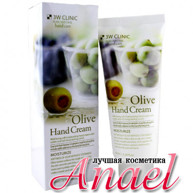 3W Clinic Увлажняющий крем с натуральным экстрактом оливы для рук Pure Natural Olive Hand Cream Moisturize (100 мл)