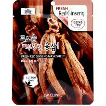 3W Clinic Антиоксидантная тканевая маска для лица «Свежий женьшень» Fresh Red Ginseng Mask Sheet (1 шт х 23 гр)