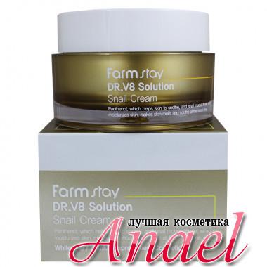 Farm Stay Крем с улиточным муцином для профилактики морщин и отбеливания кожи DR-V8 Solution Snail Cream (50 мл)