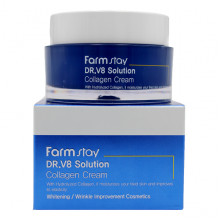 Farm Stay Антивозрастной отбеливающий крем с коллагеном для лица DR-V8 Solution Collagen Cream (50 мл)