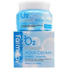 Farm Stay Кислородный увлажняющий крем премиум-класса для лица для отбеливания против морщин O2 Premium Aqua Cream (100 гр)