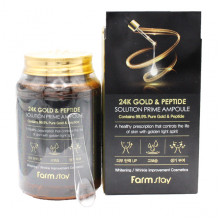 Farm Stay Антивозрастная ампульная сыворотка с золотом и пептидами от морщин 24K Gold & Peptide Solution Prime Ampoule (250 мл)