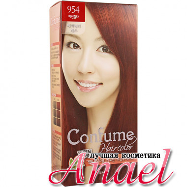 Welcos Стойкая крем-краска для волос Тон 954 Огненно-рыжий Confume Hair Color #954 Very Very Red (60 гр + 60 мл + 40 гр)