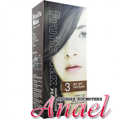 Welcos Краска для волос с эффектом ламинирования Тон 03 (Темно-коричневый) Fruits Wax Pearl Hair Color  (60 гр + 60 мл)