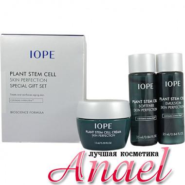 IOPE Подарочный набор миниатюр антивозрастных средств с фитостволовыми клетками для зрелой кожи лица Plant Stem Cell Skin Perfection Special Gift Set (3 предмета)