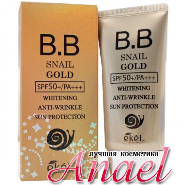 Ekel Антивозрастной отбеливающий BB-крем с улиточным муцином BB Snail Gold Whitening Anti-Wrinkle Sun Protection SPF50+/PA+++ (50 мл)