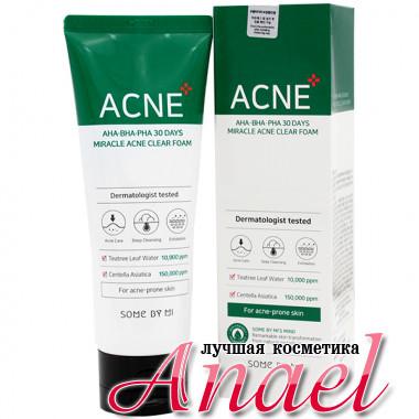Some By Mi Чудо-пенка для умывания с кислотами и экстрактом центеллы против акне AHA-BHA-PHA 30 Days Miracle Acne Clear Foam (100 мл)
