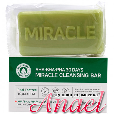 Some By Mi Чудо-мыло с кислотами и экстрактом чайного дерева AHA-BHA-PHA 30 Days Miracle Cleansing Bar (1 шт)