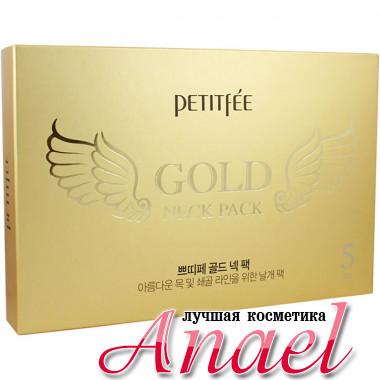 Petitfee Антивозрастная гидрогелевая маска «Крылья ангела» для подтяжки шеи с коллоидным золотом Gold Neck Pack Hydrogel Angel Wings (5 шт)