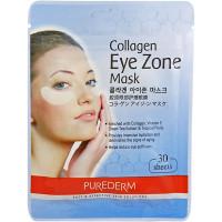 Purederm Антивозрастная тканевая маска под глаза с коллагеном, витамином E и экстрактом зеленого чая  Collagen Mask Eye Zone (30 шт)